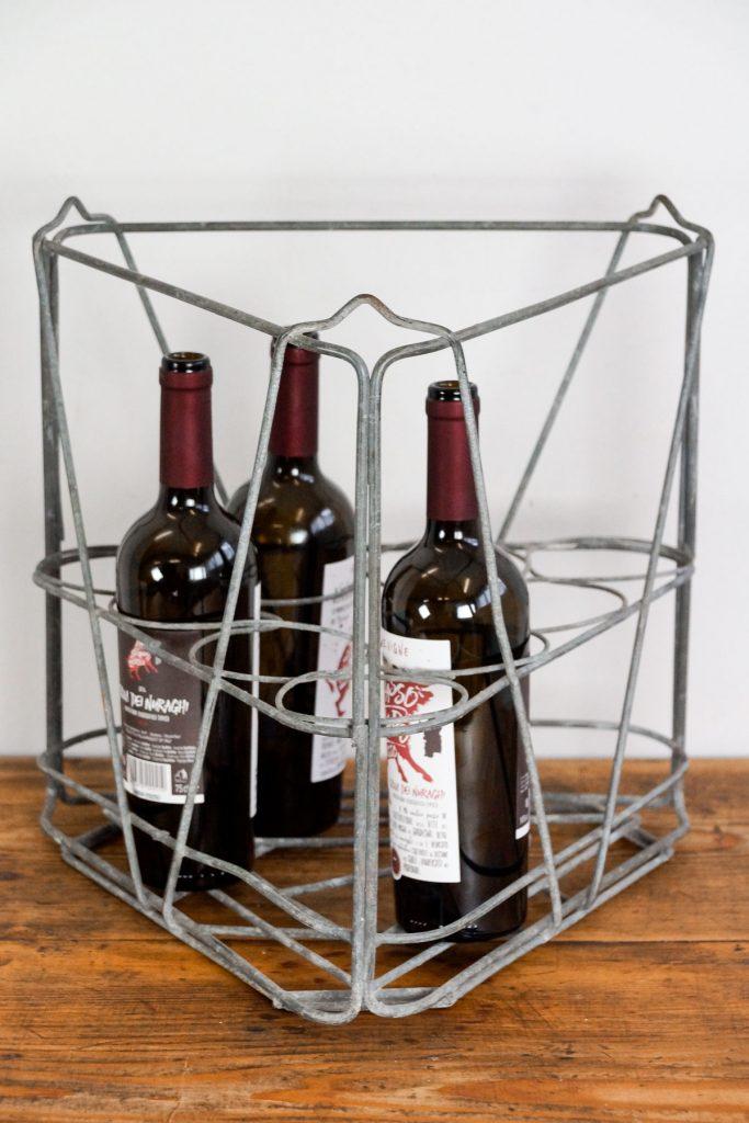 Dreieckiger Flaschenkorb / Flaschenträger aus Metall, Frankreich um 1930