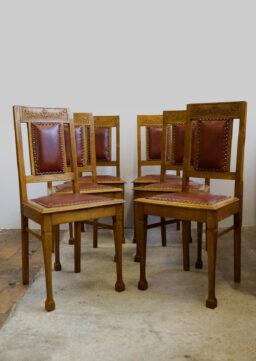 6er-Satz Jugendstil-Esszimmerstühle / Ding Chairs mit Lederbezug