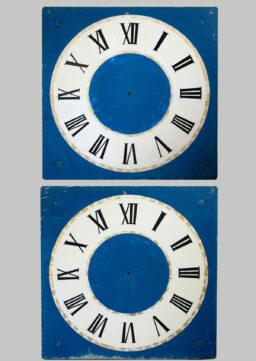 Paar handbemalte Turmuhr-Ziffernblätter, 150x150cm