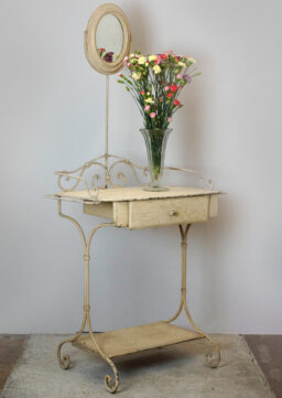 Antiker französischer Waschtisch / Frisiertisch mit Spiegel um 1870
