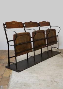 3-Sitzer Kinobank / Cinema Bench / Klappbank von PÉGHAIRE, Paris um 1890/1900