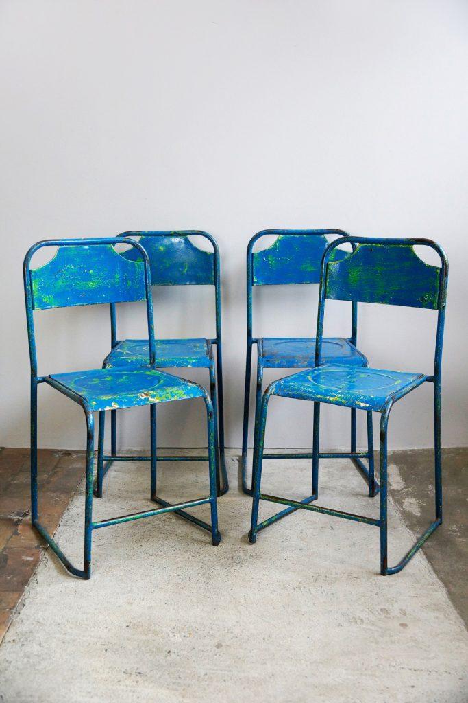 4er-Satz Vintage Straßencaféstühle / Bistrostühle aus Metall, blau, 1950s