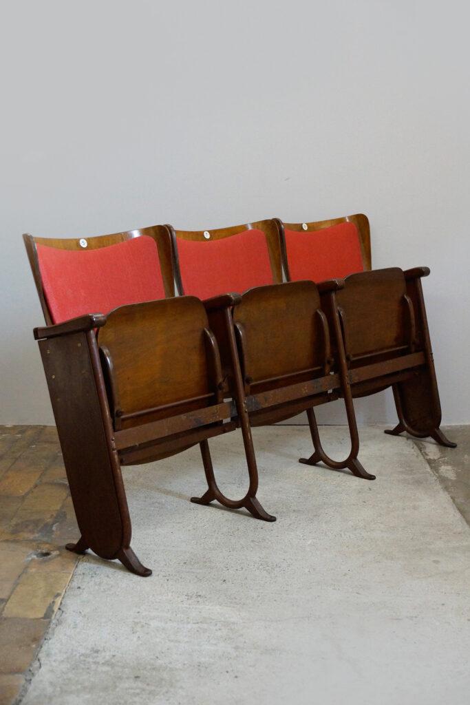 2x 3-Sitzer Kinobank von Fibrocit aus Brüssel, Art Deco, 1930s (rot)