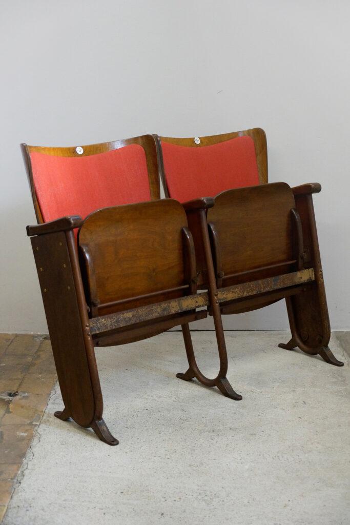 3x 2-Sitzer Kinobank von Fibrocit aus Brüssel, Art Deco, 1930s (rot)