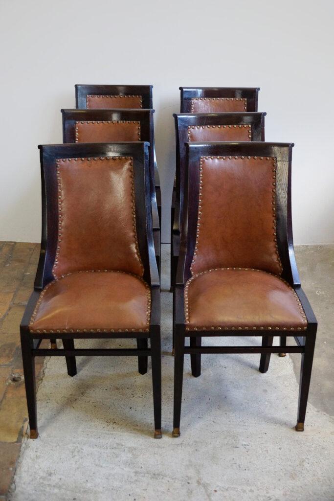 6er-Satz englische Gondelstühle / Dining Chairs mit Ledersitz um 1900
